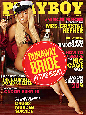 Crystal Harris Playboy Cover Gets Runaway Bride Sticker from Hugh Hefner