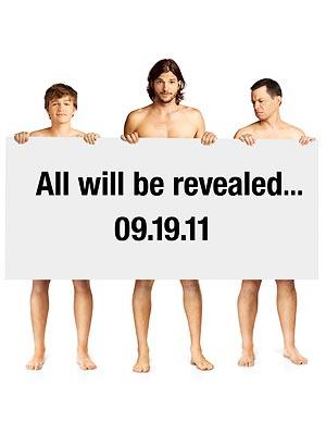 Ashton Kutcher Gets Naked with Two and a Half Men Cast   Ashton Kutcher, Jon Cryer