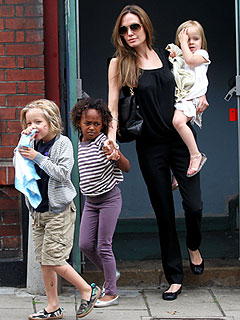 Angelina Jolie Catches Smurfs with Her Girls | Angelina Jolie