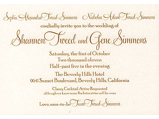 PHOTOS: Gene Simmons & Shannon Tweed's Wedding Invitation | Gene Simmons