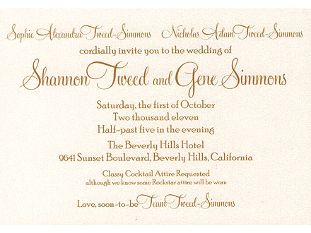 Gene Simmons & Shannon Tweed's Wedding Invitation | Gene Simmons
