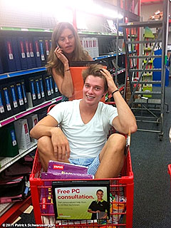 PHOTO: Patrick Schwarzenegger Gets Carted Around by Mom – Literally! | Patrick Schwarzenegger