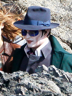 Johnny Depp Sports Bright White Makeup on Dark Shadows Set | Johnny Depp