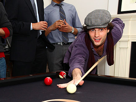 Penn Badgley Shoots Pool in N.Y.C.