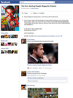 ryan gosling 2 300 Bradley Cooper vs. Ryan Gosling: Protests over PEOPLEs Sexiest Man Alive