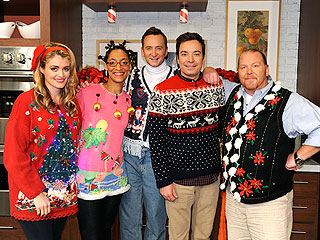PHOTO POLL: Does Jimmy Fallon Flaunt the Most Festive Ugly Sweater? | Jimmy Fallon, Mario Batali