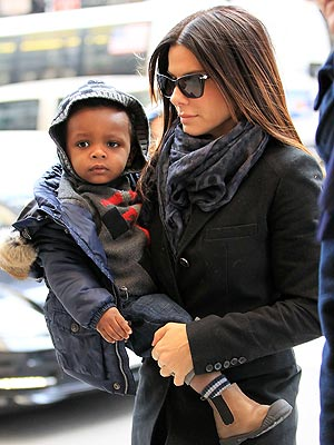 Sandra Bullock Out with Son Louis in NYC