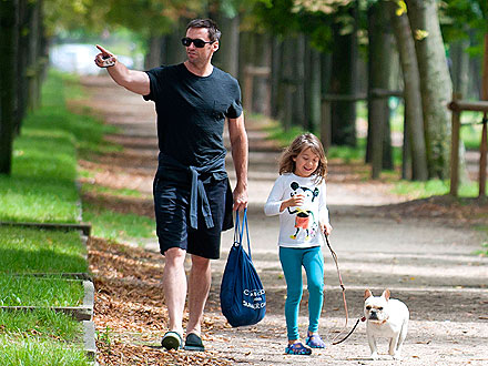 Hugh Jackman, Daughter and Dog Enjoy Paris