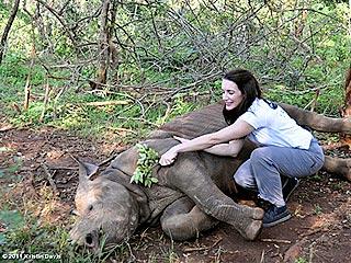 Kristin Davis Snuggles with a Rhino in Kenya | Kristin Davis