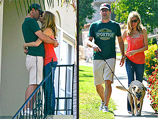 Mwah! Jon Hamm Steals a Kiss After Walking the Dog | Jennifer Westfeldt, Jon Hamm