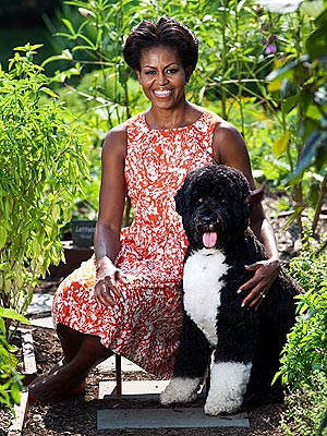 Michelle Obama, Bo Take Portrait in White House Garden
