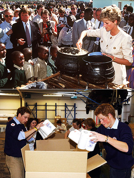 PITCHING IN WITH THE RED CROSS  photo | Prince Harry, Prince William, Princess Diana