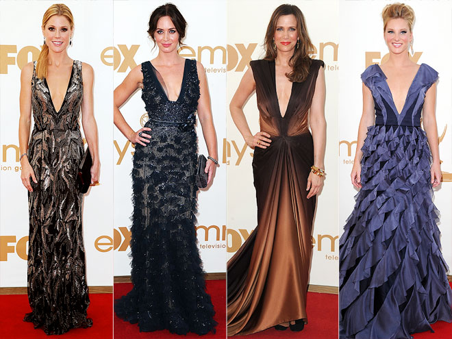 PLUNGING NECKLINES photo | Emily Blunt, Heather Morris, Julie Bowen, Kristen Wiig