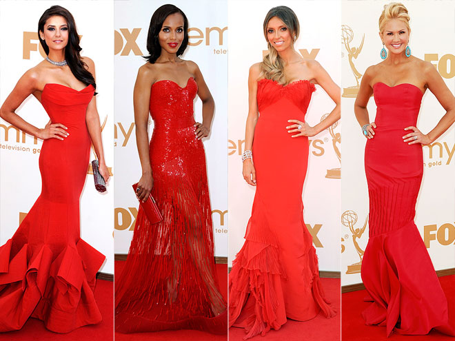 RED STRAPLESS MERMAID GOWNS photo | Kerry Washington, Nancy O'Dell, Nina Dobrev