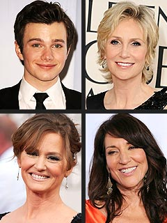 Night of Firsts! Jane Lynch, Chris Colfer and More Take Home Globes | Chris Colfer, Jane Lynch, Katey Sagal, Melissa Leo