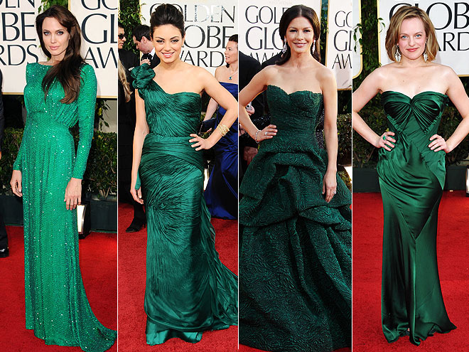 Angelina Jolie in Versace, Mila Kunis in Vera Wang ,Catherine Zeta-Jones in Monique Lhuillier & Elisabeth Moss in Donna Karan