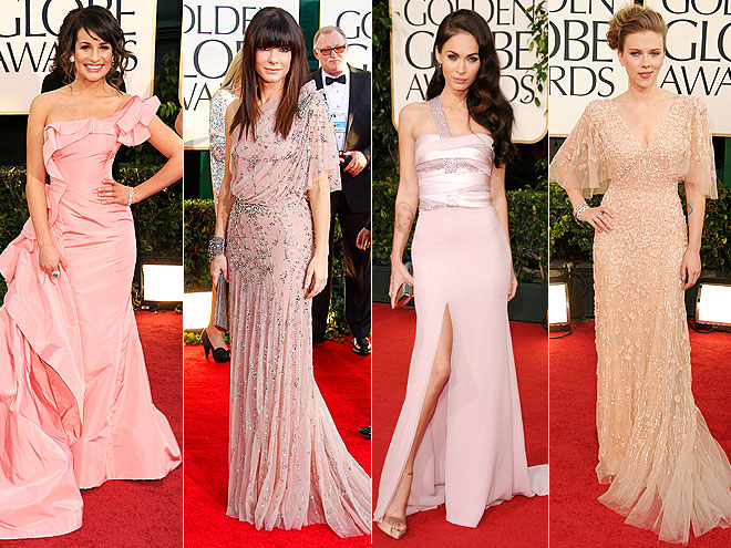 Lea Michele in a pleated Oscar de la Renta, Sandra Bullock in a Jenny Packham. Megan Fox in Armani Privé & Scarlett Johansson in Elie Saab