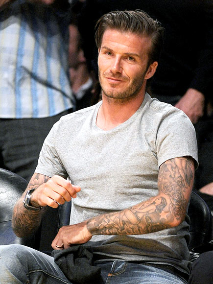 David beckham of the los angeles galaxy warms up during for David beckham tattoo sleeve