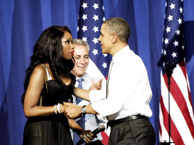 Photo of Jennifer Hudson & her friend politician  Barack Obama - Longtime