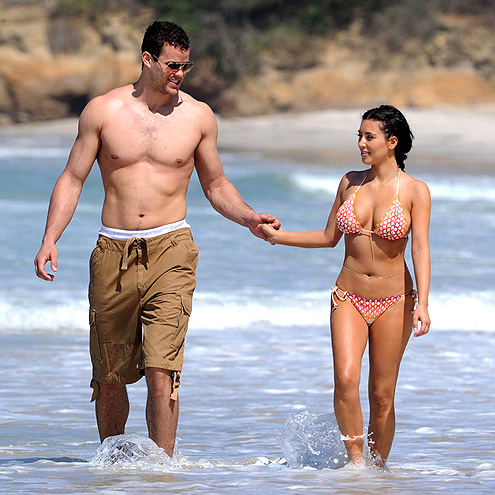 Kardashian Breasts on The Knot Kim And Kris Test Their Love Offshore Strolling The Coast Of