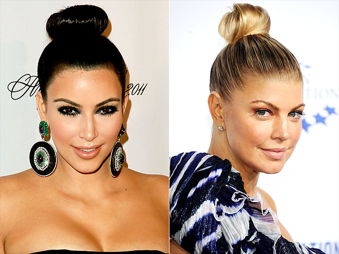 SMOOTH TOPKNOT photo | Fergie, Kim Kardashian