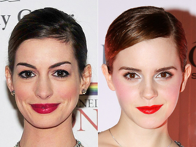 SLICKED-DOWN SIDE PART photo | Anne Hathaway, Emma Watson