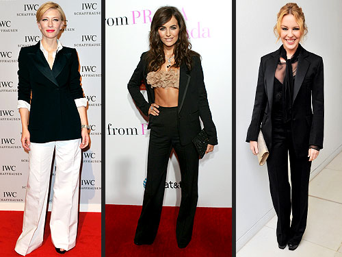 Camilla Belle Kylie Minogue and Cate Blanchett in Menswear Fashion Trend