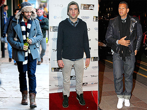 Adrien Grenier, Alex Rodriguez and Zachary Quinto Wear Winter Layers