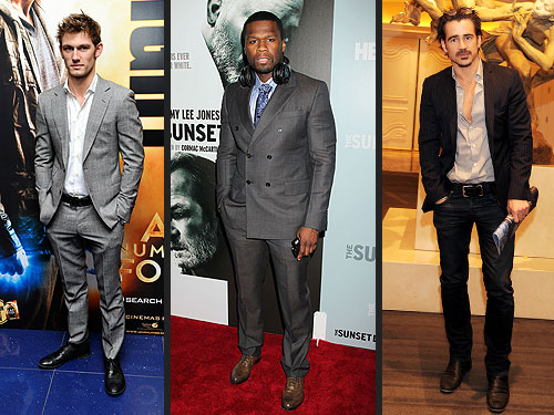 Alex Pettyfer, Colin Farrell and 50 Cent Wear Suits