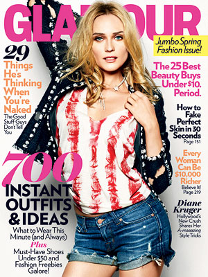 Diane Kruger on the March cover of Glamour Magazine