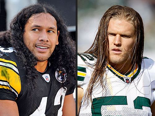Troy Polamalu and Clay Matthews Superbowl Hair