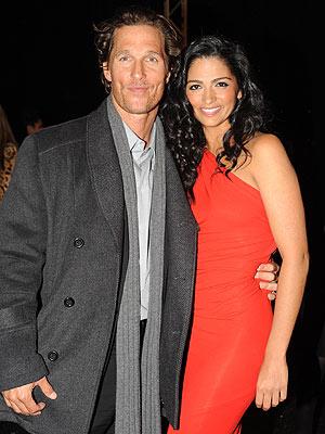 Matthew McConaughey Camila Alves Front Row Red Dress Fashion Week
