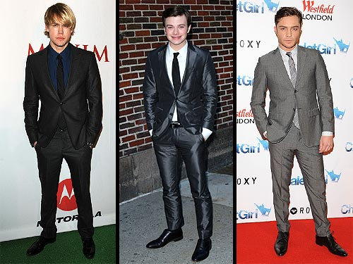Ed Westwick, Chord Overstreet and Chris Colfer Wear Gray Suits