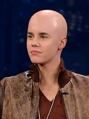 Justin Bieber's Bald Head on Jimmy Kimmel