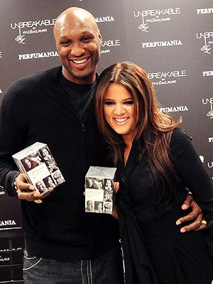 Khloe Kardashian and Lamar Odom at their Unbreakable Perfume Launch in Florida