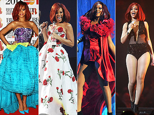 Rihanna Outfit Changes at BRIT Awards