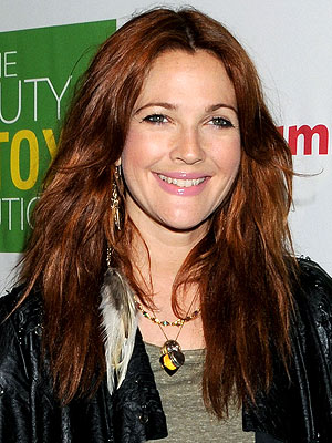 Two Tone Hair Color Red And Black. Drew Barrymore Hair