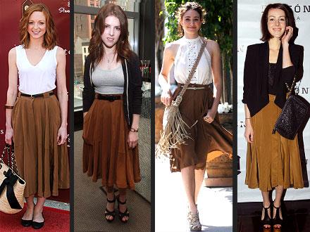 Jayma Mays, Emmy Rossum, Madewell skirt