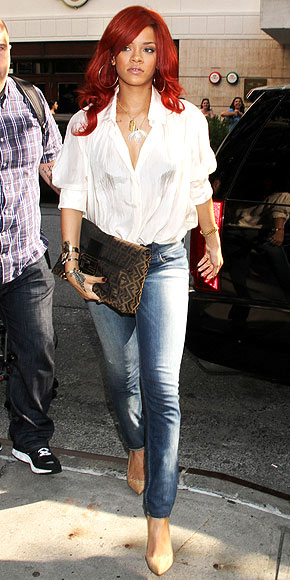OVERSIZE BLOUSE AND JEANS photo | Rihanna
