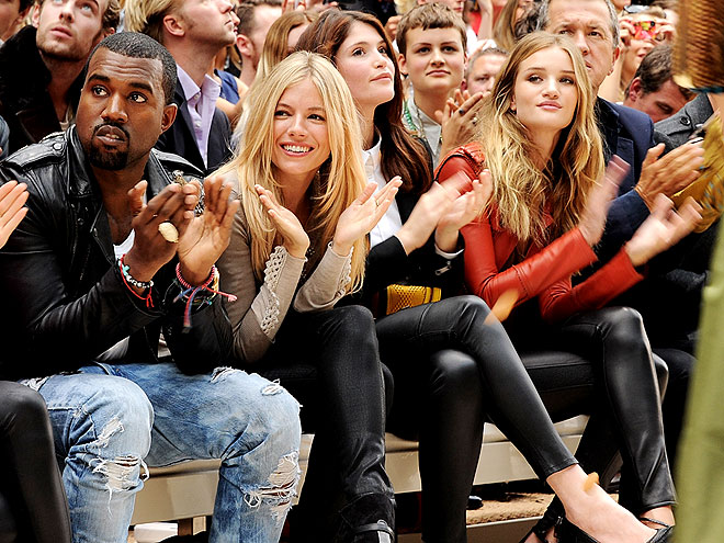 BURBERRY FRONT ROW photo | Gemma Arterton, Kanye West, Rosie Huntington-Whiteley, Sienna Miller