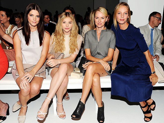 CALVIN KLEIN FRONT ROW photo | Ashley Greene, Chloe Moretz, Naomi Watts, Uma Thurman