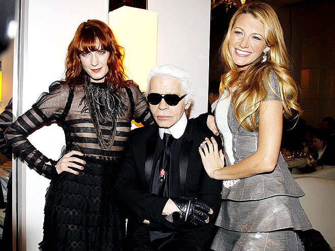 FLORENCE WELCH, KARL LAGERFELD & BLAKE LIVELY photo | Blake Lively, Karl Lagerfeld