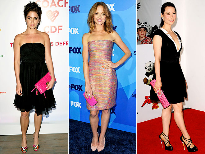 HOT-PINK CLUTCHES photo | Jayma Mays, Lucy Liu, Nikki Reed