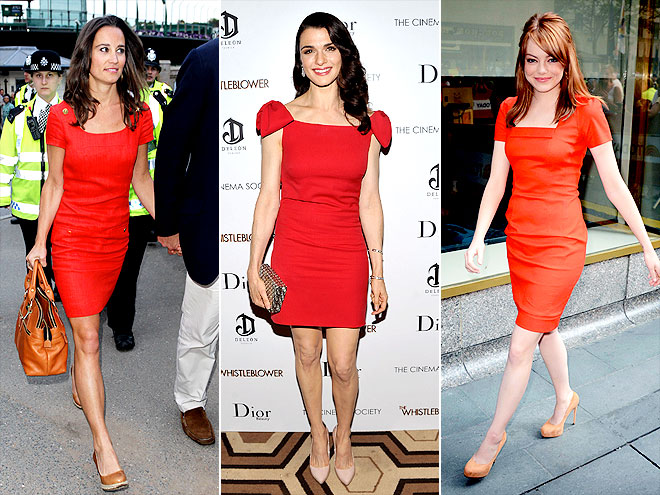 SHORT-SLEEVE RED SHEATHS photo | Emma Stone, Pippa Middleton, Rachel Weisz