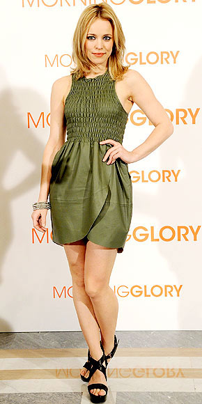 Rachel McAdams puts her own fresh twist on premiere style at the Morning Glory photocall in Madrid, wearing a sweet smocked olive dress, stacked bangles and platform sandals. Which piece is under $100? | Rachel McAdams