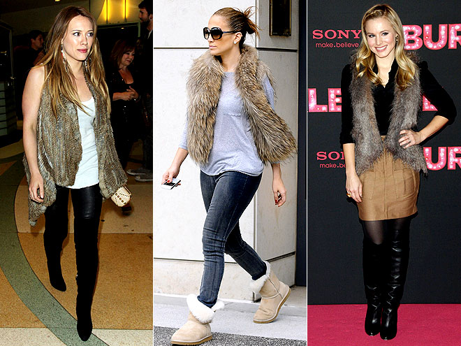 FUZZY VESTS photo | Hilary Duff, Jennifer Lopez, Kristen Bell