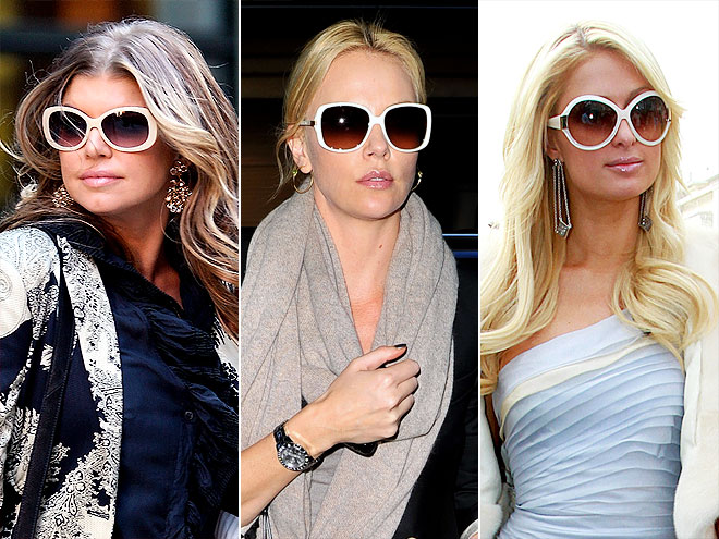 WHITE SUNGLASSES photo | Charlize Theron, Fergie, Paris Hilton