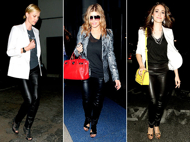BLAZERS WITH LEATHER PANTS photo | Charlize Theron, Emmy Rossum, Fergie