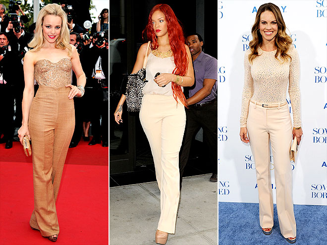 HIGH-WAISTED NEUTRALS photo | Hilary Swank, Rachel McAdams, Rihanna