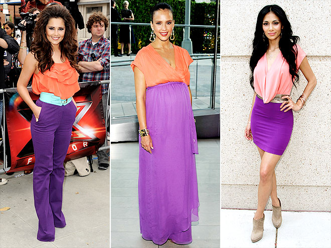 ORANGE & PURPLE COLOR BLOCKING photo | Cheryl Cole, Jessica Alba, Nicole Scherzinger